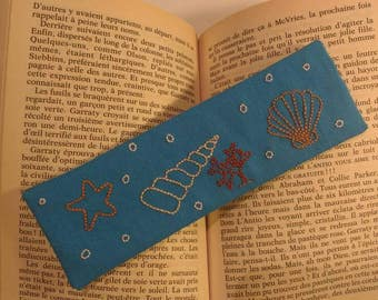 """Seashells"" hand embroidered bookmark"
