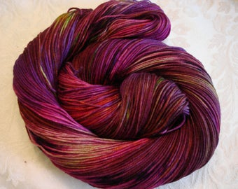 SOFTY SOCK FING yarn, Superwash Wool, Nylon, Hand Dyed, Color - Bougainvillea