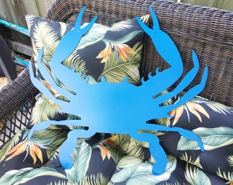 Metal Blue Crab - Beach Decor - Crab Decor - Metal Beach Decor - Metal Wall Art