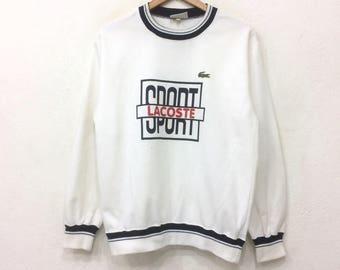 Rare!! Vintage 90's Lacoste Sport Big Logo Ringer Medium Size Spell Out Sweatshirt Crewneck Jumper Jacket Hoodie Shirt Hip Hop Swag