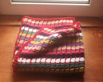 Crochet block stitch multi-coloured blanket