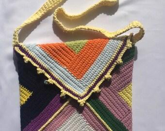 Granny Square Bag, purple, yellow, blue, orange