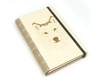 Wooden notebook laser cut 'Pack notes'