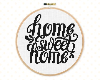 50% OFF! Home sweet home cross stitch pattern, Digital Cross stitch pattern, lettering, modern cross stitch