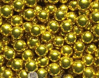 Large 6mm Gold Dragees - Edible Sugar Balls - Edible Cake Sugar Sprinkles, Cupcake Decorations, Cake Decor