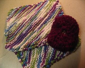 2 Knitted Dishcloths and Scrubbie Kitchen Set