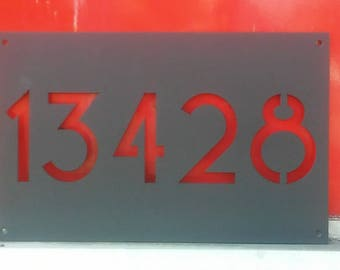 """Metal Address Sign 16"""" x 10"""" Custom House or Apartment Number Plate w/ Mid Century Modern Font New Deal Deco"""