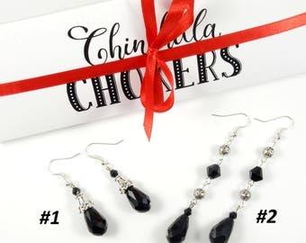 Black Earrings Chokers Bead Black Earrings Drop Black Earrings Long Silver Earrings Gift For Girlfriend Black Drop Earrings Gothic Earrings
