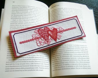 Cross Stitch Finished Bookmark Hearts