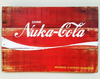 Handmade Fallout Nuka-Cola Recycled Wood Sign, Man Cave Sign, Gaming Decor, Kids Room Decor