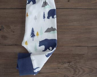 100% Organic Cotton Baby/Tot Cuffed Leggings, Bear Mountain Forest