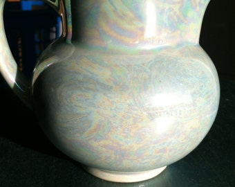 The Pantry Parade Iridescent Pitcher -- Lusterware Style -- Creamer -- Baby blue Pitcher