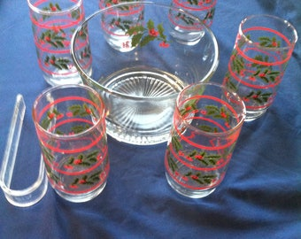 Holly Ice Bowl and 6 glasses