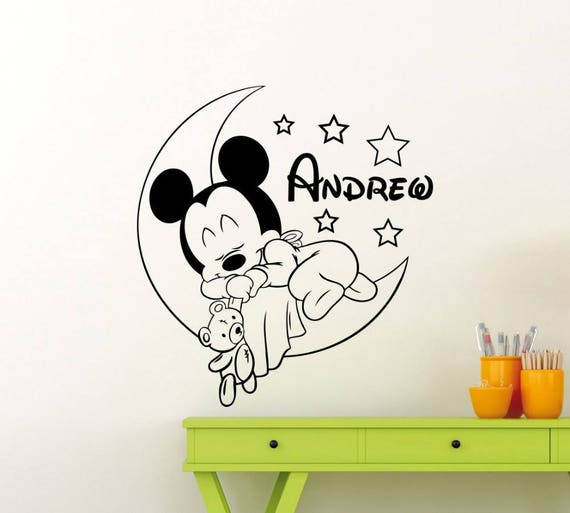 Custom Name Mickey Mouse Wall Decal - Nursery Room Decor - Kids Room Wall sticker - Nursery Wall Decal  - Home Decor - personalized Name