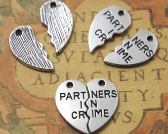 5sets partners in crime Charms Silver tone broken heart partners in crime Charm pendants 23mm ASD0969
