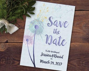Dandelion Watercolor Printable Save the Date Card