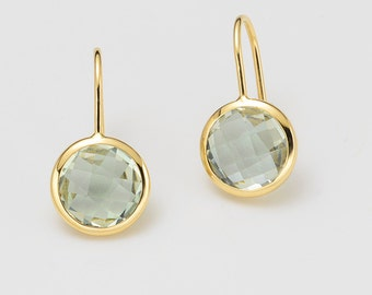 Ear hook 750 / - yellow gold with Prasiolite