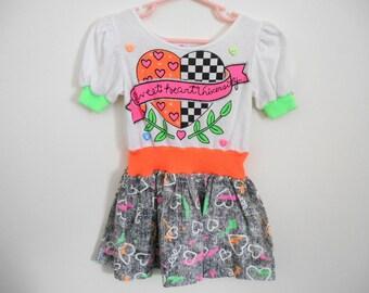 SALE: Sweetheart University Dress Vintage Dress Little Girls Size 4 K.L.L. Knit Retro 1980s Neon I Love the 80s Spring Summer Play Hearts