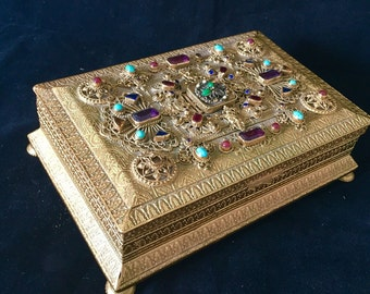 Antique Jeweled Bronze Casket Box