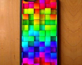 Rainbow Blocks Print Pattern Phone Case Cover Samsung Galaxy S6 S7 S8 Note Edge Apple iPhone 4 5 5S 5C 6 6S 7 SE Plus + G3 skin snap rubber