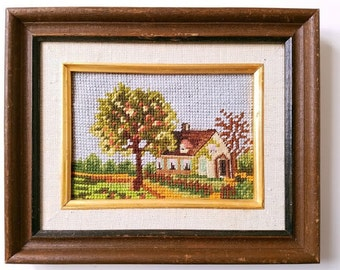 """Needlepoint Picture in Frame Home Apple Tree 8.5"""" x 10.5"""""""