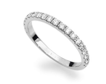 Diamond Wedding Ring, Half Eternity Ring, Bridal Ring, Wedding Ring, Anniversary Ring, Stacking Ring, Wedding Band for Woman,Natural Diamond