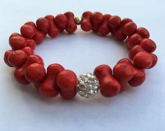 Sparkle Dog Bone Bracelet in Red