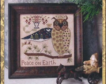 Primitive Cross Stitch pattern Peace On Earth from Kathy Barrick Stitch count 152 wide x 142 high
