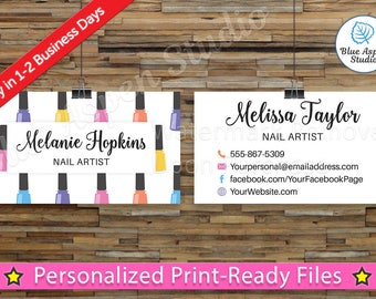 Nail Salon Business Cards Nails Stylist Manicure Pedicure Printable Digital Personalized Custom Card Spa Salon Aesthetician Beauty