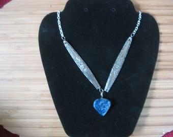 rose flower spoon jewelry necklace art deco sodalite stone lapidary