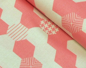 Basic Pink. Patchwork fabric. Fabric of reworks. Printed fabric. Geo fabric. Fun fabric. Cotton fabric. American fabric. Pink hexagons