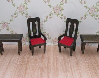 Period Style Wooden Dolls House Two Chairs and Two Side Tables