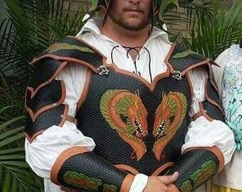Renaissance double Dragon Celtic leather armor chest, paulderons, bracers and helmet