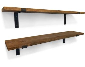 Solid Oak Vintage Industrial Shelf - Including Metal Brackets - Handmade Shelves