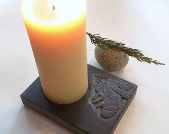 Hand carved slate pillar candle holder with bas relief carving of bee, pillar candle holder, stone candle holder, decorative center piece