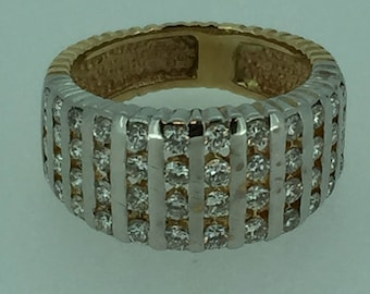 14kt Yellow Gold Lady's Wide Diamond Band. 1.25ct total weight. Very Affordable