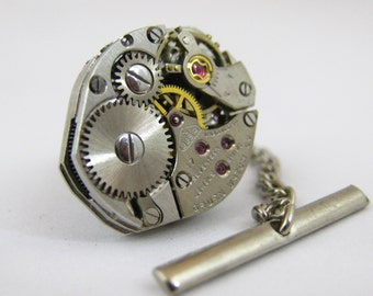 Vintage Steampunk Watch Movement TIE TACK Tie Clip Mixed Media Assemblage Jewelry L10