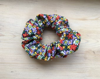 Black Rainbow Floral Scrunchie