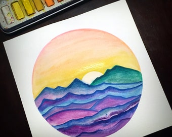 Hand painted watercolor sunrise // sunset // desert // mountains // colorful