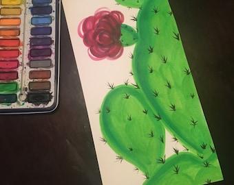 Hand painted watercolor cactus // succulent // flowers