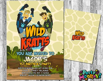 Wild Kratts Birthday Invitation, Wild Kratts, Invitations, Wild Kratts Party, Personalized Wild Kratts Invites, Wild Kratts Printable