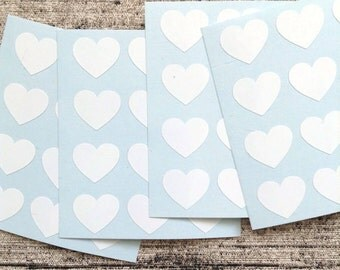 48 White heart stickers, for packaging, White heart mini decals, White heart envelope seals, gift wrapping or wedding invitations