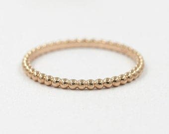 Gold Bead Ring.Beaded Ring.Thin 14K Solid Gold Ring.Stackable Ring.Dainty Gold Ring.Minimalist Ring.Simple Wedding Band.Rose Gold Ring