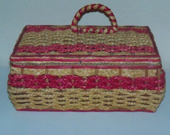 Wicker Sewing Basket woven with natural materials, Hot Pink