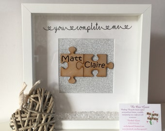 Personalised 'You Complete Me' Jigsaw pieces box frame anniversary couple