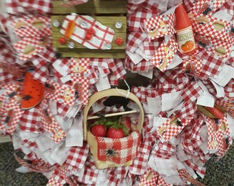 Rag wreath, red check rag wreath, picnic themed wreath
