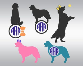 golden retriever dog monogram SVG Clipart Cut Files Silhouette Cameo Svg for Cricut and Vinyl File cutting Digital cuts file DXF Png Pdf Eps