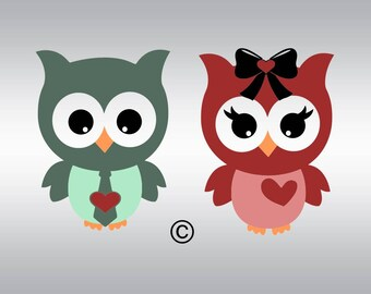 Owl svg, Owl with bow svg, Valentine's day svg, Valentie svg, Heart svg, SVG Files, Cricut, Cameo, Cut file, Clipart, Svg, DXF, Png, Eps