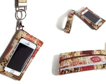 Cell Phone Wallet,  Travel Stamps iPhone Wallet Wristlet, iPhone 7 Case, Samsung Galaxy Note Case, iPhone 6s case