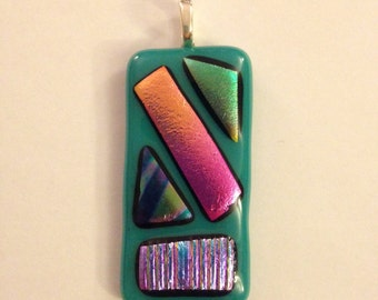 Turquoise and Multicolored Glass Necklace Pendant